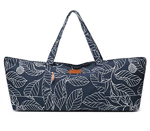 Elenture Full-Zip Extra Large Yoga Mat Tote Bag with Multi-Functional Storage Pockets for Sports Gym Pilates (Navy Blue Leaves)