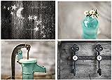 Rustic Bath 4 Print Set - 8''x10'', Country Decor, Primative, Rustic Bath, Farmhouse, Teal, Aqua