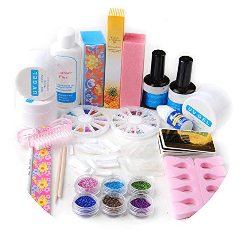 UV Gel Nail Art Kit Manicure Glitters Rhinestone Glue Topcoat Primer Tips Nail Tips Sets Tools For Manicure Set