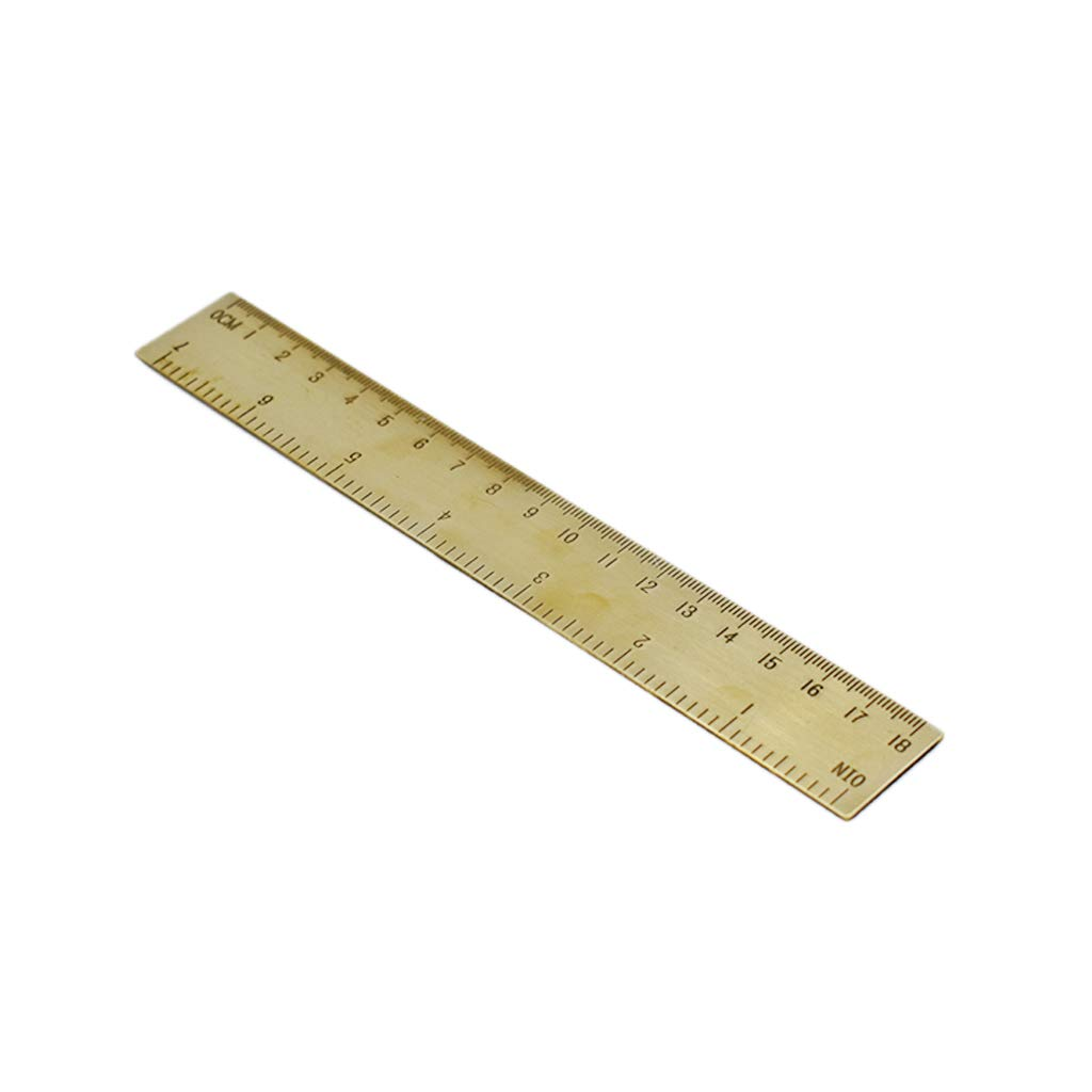 PULABO Mini Brass Metal Ruler Vintage Meter Measuring Ruler Tool Calibrated Scale Ruler Dual Scale Copper Bookmark 18cm 1PCS Superior Quality and Creative High-Quality, Security