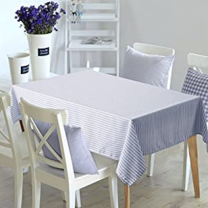 Deconovo Rectangular Water Resistant Table Cover Stripe Pattern Nordic style Tablecloth Recycled Table Cloth for Picnic 54W x 54L Inch White and Light Blue 2 Pieces