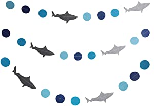 SBYURE Shark Banner Shark Garland,3 Pack Shark Birthday Decorations for Ocean Animals/Under The Sea/Hawaii Luau Theme Baby Shower Birthday Party Supplies Decorations