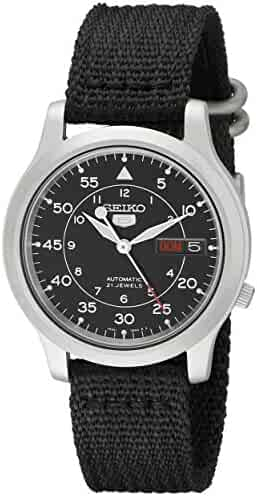 Seiko Men's SNK809 Seiko 5 Automatic Stainless Steel Watch with Black Canvas Strap