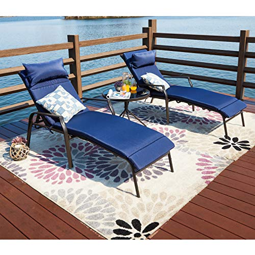 LOKATSE HOME 3 Pieces Outdoor Patio Chaise Lounges Chairs Set Adjustable with Folding Table, Dark Blue Cushions (White Lounge Chaise Furniture Outdoor)