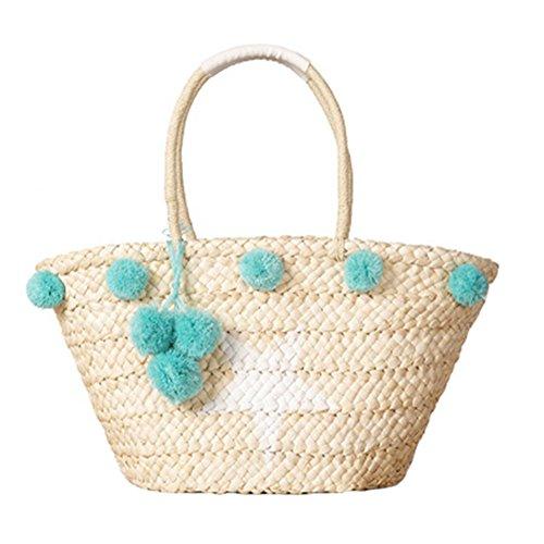 Meaeo Las Mujeres Bolso De Paja De Playa En Verano, Pompon Hembra Tejer Bolsa Dama Moda Diseñador De Lujo Tejidas Bolsas De Hombro Tote Compras,Azul Blue
