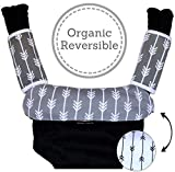 Baby Carrier Reversible Teething Drool Pads: Set of 3 Organic Cotton Bib Pad Strap Covers | Arrow Design | [Patent Pending]