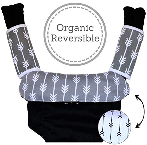 Baby Carrier Reversible Teething Drool Pads: Set of 3 Organic Cotton Bib Pad Strap Covers | Fit Ergo Babybjorn Infantino Any Baby Carriers | High Absorbent | Unisex Design | [Patent Pending]