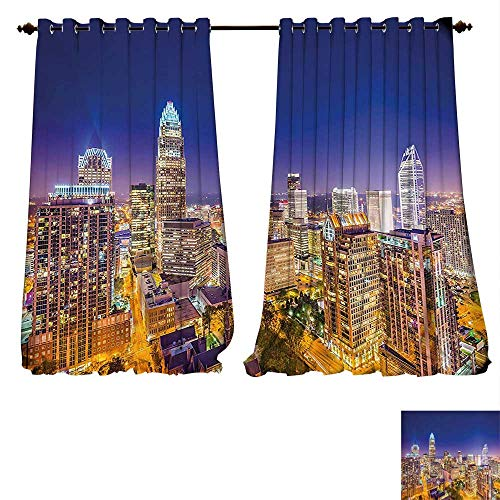 - fengruiyanjing-Home Room Darkening Wide Curtains Modern Panoramic North Carolina Uptown Sky at Night Cityscape Luminous Town Picture Indigo Orange Customized Curtains (W107 x L84 -Inch 2 Panels)