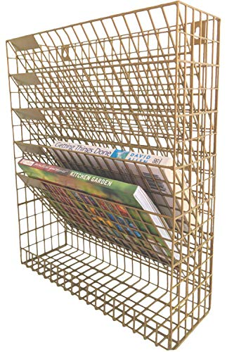 Wall File Wire Mesh Organizer - 5 Pockets - Hanging Letter Mail Bill Document Holder - Gold - for Office Home and Kitchen