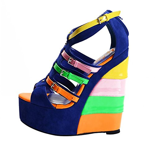Ladies Women's High Heel Fashion Multicolour Wedge shoes ...