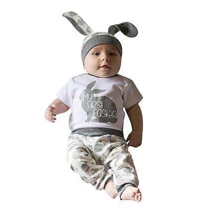 47b8ea4135c6 ❤Ywoow❤ Baby Clothes Set, Newborn Baby Girl Boy Cartoon First Easter 3D  Bunny