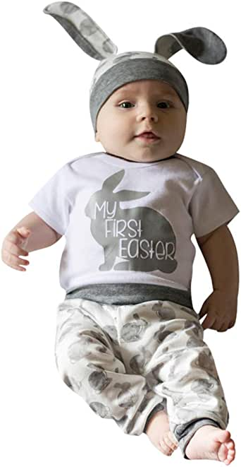 Buoyee Newborn Baby Boy Girl Clothes Letter Print Romper+Pants+Hat 3PCS Outfits Set