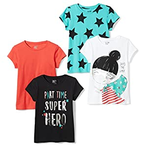 Amazon Brand – Spotted Zebra Girls' Toddler & Kids 4-Pack Short-Sleeve T-Shirts