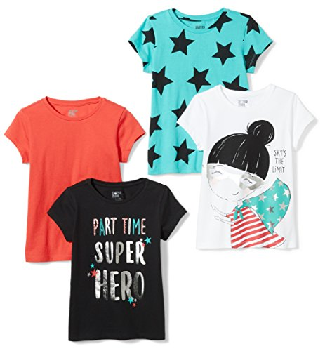 Spotted Zebra Little Girls' 4-Pack Short-Sleeve T-Shirts, Super Girl, Small (6-7) Cute Graphic Toddler T-shirt