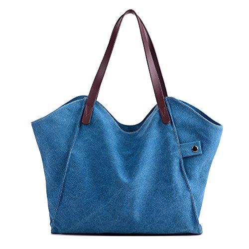 Mfeo Womens Canvas Shoulder Bag Weekend Shopping Bag Tote Handbag Work Bag ()