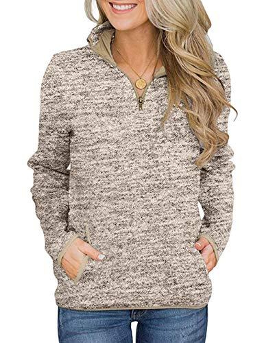 iWoo Casual sweatshirt met lange mouwen voor dames, met opstaande kraag, korte mouwen, korte mouwen, ritssluiting en…