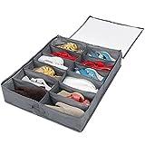 Lifewit 12 Pairs Under Bed Shoe Organizer Closet Storage Solution Organizer Box with Front Zippered Closure, Grey