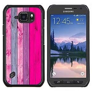 LECELL--Funda protectora / Cubierta / Piel For Samsung Galaxy S6Active Active G890A -- Madera Diseño decoración de la pared Rosa Púrpura --