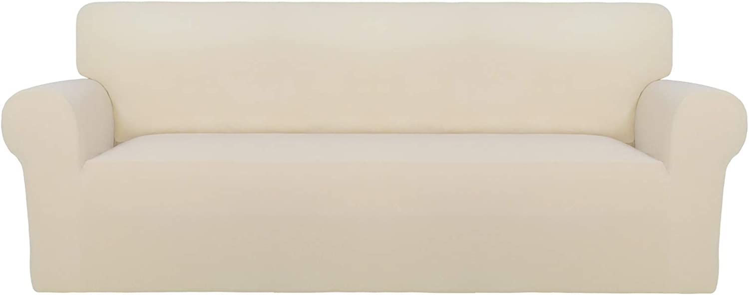 PureFit Super Stretch Oversized Sofa Slipcover – Spandex Non Slip Soft Couch Sofa Cover, Washable Furniture Protector with Non Skid Foam and Elastic Bottom for Kids, Pets (Oversized Sofa,Beige)