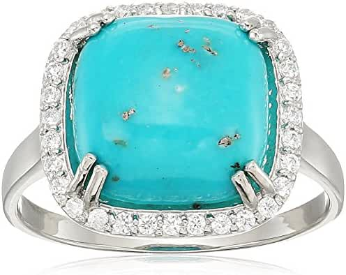 Sterling Silver Turquoise and Cubic Zirconia Square Ring