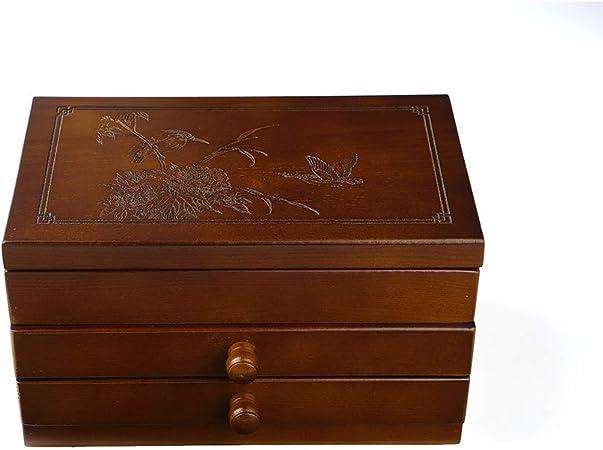 YLOVOW Caja de Tesoro de Madera para el Viejo Mundo Joyero para niñas Organizador de Joyas con Espejo Mini Estuche de Viaje (marrón),B: Amazon.es: Hogar