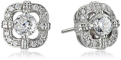 Platinum Plated Sterling Silver Swarovski Zirconia Antique Frame Halo Stud Earrings