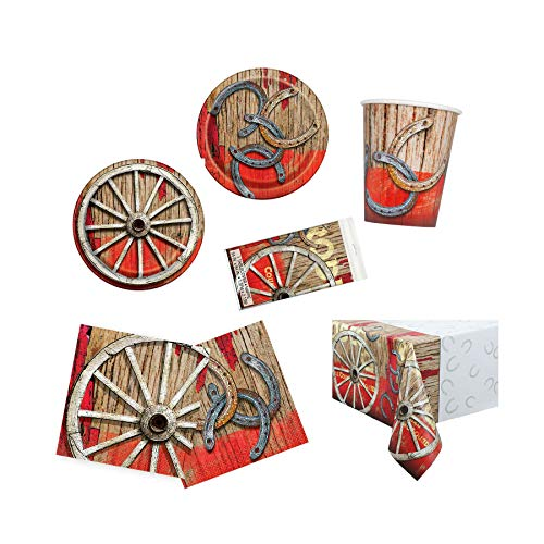 Cowboys Dinner Plates (Unique Rodeo Western Party Bundle | Luncheon & Beverage Napkins, Dinner & Dessert Plates, Table Cover, Cups | Great for Cowboy/Texas/Rustic/Wild West Birthday Themed Parties)