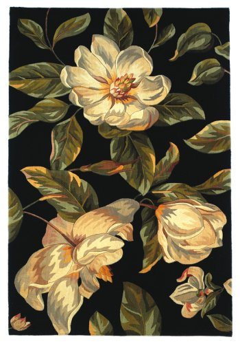 Wool Tropical Floral Area Rug - Kas Rugs 761 Catalina Magnolia Runner, 2-Feet 6-Inch by 8-Feet, Black