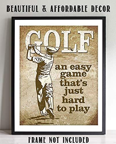 Golf- Funny Vintage Sign Print- 8 x10