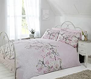 BIRD BRANCH FLORAL LACE PRINT PINK BEIGE GREY CANADIAN TWIN (COMFORTER COVER 135 X 200 - UK SINGLE) (PLAIN WHITE FITTED SHEET - 91 X 191CM + 25 - UK SINGLE) PLAIN WHITE HOUSEWIFE PILLOWCASES 5 PIECE BEDDING SET