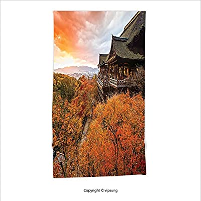 Vipsung Microfiber Ultra Soft Hand Towel-Home Decor Japanese Temple In Autumn With Faded Falls Trees And Magical Sky Landscape Ritual Photo Decores Orange Green For Hotel Spa Beach Pool Bath