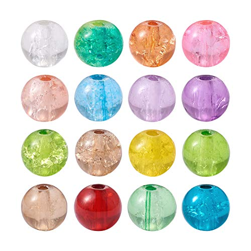 (Craftdady 500PCS 6mm Assorted Mixed Round Transparent Crackle Crystal Glass Beads Loose Beads for Jewelry Making)