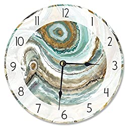 The Stupell Home Decor Collection Stupell Industries Abstract Geode Teal and Copper Vanity Clock, Proudly Made in USA