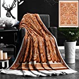 Unique Custom Flannel Blankets Wooden Thai Style Craving On Wall Or Roof In Temple Of Northern Thailand Super Soft Blanketry for Bed Couch, Throw Blanket 50'' x 70''