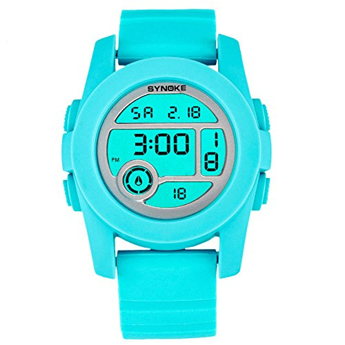 Fashion Boys Girls Outdoor Digital Quartz Waterproof Jelly Sports Watches For 5-15 Years Old Light Blue by YJLHCYGG