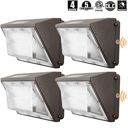 OOOLED LED Wall Pack Light(IncludePhotocell Dusk-to-Dawn Waterproof),60W 7000LM,120-277V 5000K Daylight DLC cETLus-Listed 2500-450W MH/HPS Replacement, Outdoor/Entrance (5-Year Warranty) 4pk (5000K)