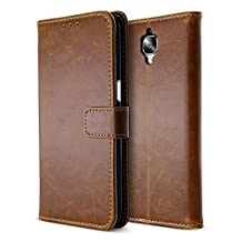 BELK OnePlus 3 Case, Slim Soft Buff PU Leather Wallet Case for OnePlus 3, Classical Magnetical Snap Folio Flip Card Cover for OnePlus 3rd Gen (5.5 Inch), Buff