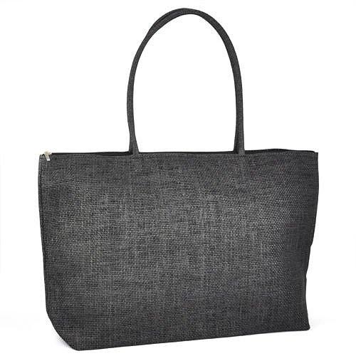 Gleader Damen Stroh Weberei-Sommer-Strand-Einkaufstasche Einkaufstasche mit Reissverschluss Reisen-schwarz