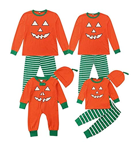 Family Matching Halloween Pajamas Long Sleeve Pumpkin Tops Striped Pants Sleepwear Nightwear (Mom, Medium)