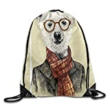 Weiding Hipster Bear With Glasses Scarf Jacket Wild Mammal Humorous Artwork Drawstring Gym Sack Sport Bag For Men And Women