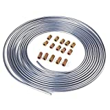 "LEDKINGDOMUS 25 Ft. Roll Coil of 3/16"" OD Zinc Coated Steel Brake Line Tubing Kit With Fittings (Silver)"