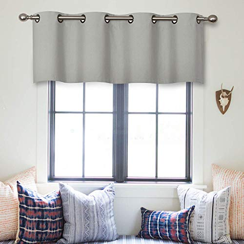 MRTREES Valances Curtains 16 inches Long Grey Curtain Valance Living Room Darkening Grommet Top Bedroom 1 Panel ()