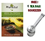 Mighty Leaf Tea , Green Tea Tropical ,(with FREE Tea Bag Squeezer) (1 Pack)