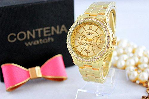 2014 New Fashion Women Dress Watches Geneva Watch, Rose Gold Full Steel Casual Analog Quartz Ladies Wristwatch 603