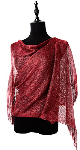 MissShorthair Womens Wedding Evening Wrap Shawl Glitter Metallic Prom Party Scarf with Fringe (Mesh Metallic Evening Bag)