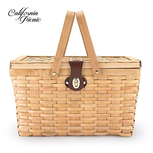 Picnic Basket | Wood Chip Design | Red and White Gingham Pattern Lining | Strong Wooden Folding Handles | Features a Leather Strap Metal Lock for Safety | Natural Eco Friendly Woven Woodchip Basket Insulated Wicker Basket