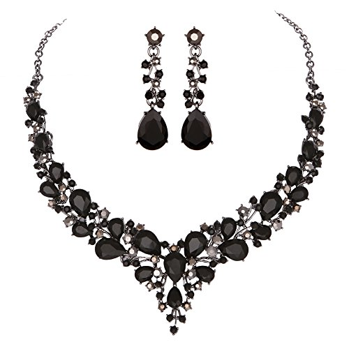 Youfir Bridal Austrian Crystal Necklace and Earrings Jewelry Set Gifts fit with Wedding Dress(Black) ()