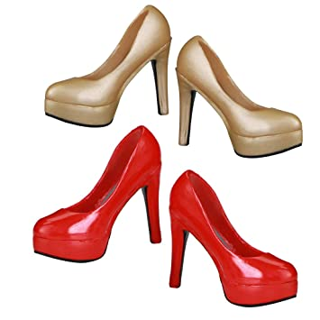 1//6 Scale Female Shoes 12/'/' Action Figure Shoes Red High Heels Ankle Boots