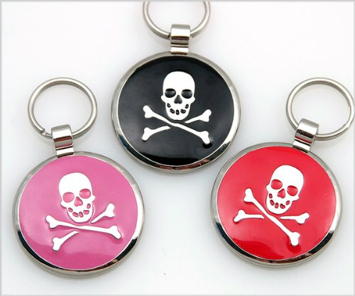 Pet ID Tag – Skull and Crossbones Jewelry Tag- Custom engraved cat and dog ID tags., My Pet Supplies