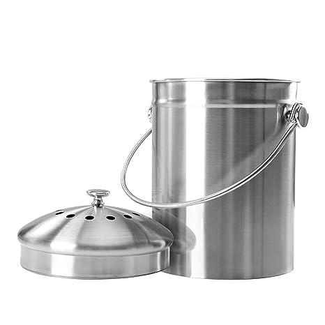Compostador de cocina Acero inoxidable de gran capacidad, 5 litros ...